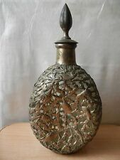Antique Glass Decanter Silver Plated fish crab sea motifs. Liquor Chinese