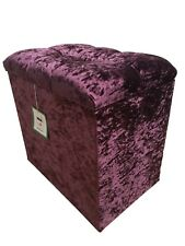 DRESSING TABLE STOOL BOX in PURPLE GLITZ with a 2 CRYSTAL hinged lid