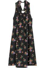 Mayle Hildie black silk floral print trapeze cut out dress 6-8