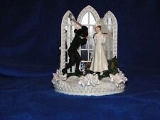 New Vintage Bridal Couple Golfers with Chapel Church Mirror Windows Caketopper