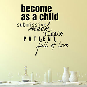 Become As A Child Quote Wall Sticker Decal Transfer Home Family Matt Vinyl UK