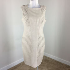 Adrianna Papell L 12 taupe Brown Sheath dress Snake Embossed Cocktail Formal EUC