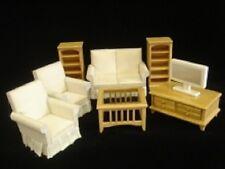 Dollhouse Miniature Modern Livingroom Set - 8-Pc. True Oak Set