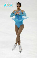 custom blue ice skating clothing competition women figure dresses for  girls