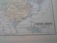Antique Map 1890 CHINESE EMPIRE+JAPAN - From Philips Atlas For Beginners  §21a