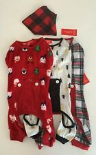 Family PJs Sz S Lot of 4 Holiday Pet Dog Pajamas & Bandana Plaid Fleece X'mas