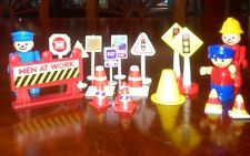 Vintage Men At Work Signs And Action Figures 20 Pices Some Pices Are Playmobil