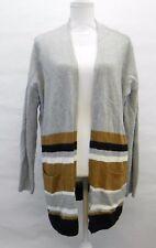Style & Co Women Sweater Striped Colorblock Long Duster Cardigan Grey Heather L