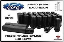 32 PC FORD 14x2.0 14X2 BLACK SPLINE LUG NUTS W/ 2 KEYS FITS F250 F350 EXCURSIONS