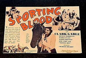 SPORTING BLOOD 1931 MOVIE HERALD - CLARK GABLE