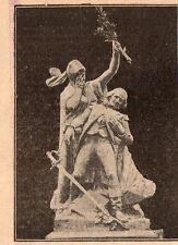 QUIMPER TOUR D AUVERGNE STATUE GRENADIER DE FRANCE IMAGE 1908 OLD PRINT
