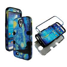 Hybrid Blk Blue Design 3 in 1 Samsung Galaxy S 4 IV i9500 Cover Case