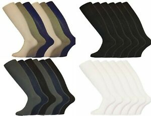 New 6 Pairs Mens Gents Long Hose 100% Cotton Ribbed Comfy Grip Knee High Socks