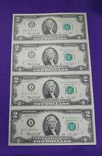 UNCUT SHEET OF 4 FEDERAL RESERVE $2 BILL STAR NOTE SERIES 1976 BOSTON