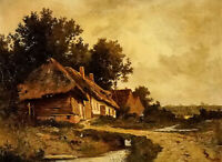 Dream-art Oil painting leon richet - cottages by a stream nice landscape house