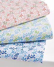 Martha Stewart Leaf Ditsy 300 Thread Count Cotton QUEEN Sheet Set Blue C537