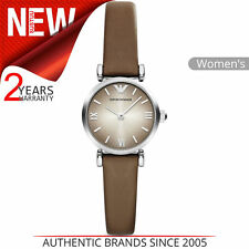 Emporio Armani Ladies Dress Watch│Round Analogue Dial│Taupe Leather Strap│AR1770
