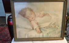 "RARE VINTAGE BABY PICTURE PRINTS FRAMED ANNE BENSON MULLER ""JUST A LITTLE DREAM"""