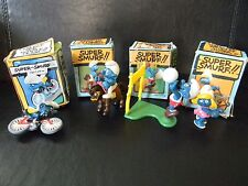 lot of 4 boxed Smurfs 1970's/80's volley ball rocking horse cyclist smufette car
