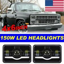"DOT 4x6"" LED Headlights Halo Sealed Beam Pair DRL Projector For Ford Mercury GMC"