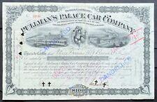 PULLMAN'S PALACE CAR CO. Stock 1893 Chicago (Boston) Gen. Horace Porter SIG ABNC