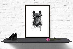 French Bulldog Sunglasse Print Poster Wall Art A4 Watercolour Painting -1074