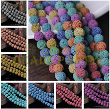Wholesale 50pcs 8mm Round Lava Stone Natural Gemstone Loose Spacer Beads