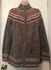 Duo Maternity Cardigan Sweater Small Green Striped Winter Jacket Warm Zip Up