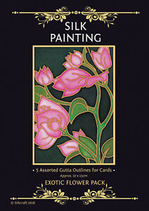 Silkcraft Silk Painting Gutta Outlines - Card Making - Exotic Flower (Pack of 5)