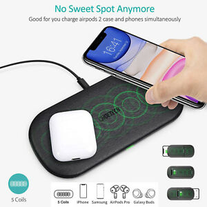 For Samsung Galaxy S20 S20+ CHOETECH Dual Fast Charger Qi Wireless Charging Pad