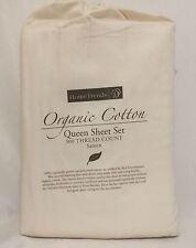 Home Trends Parchment Queen Size Organic Cotton Sheet Set ▬ New ▬ 4 Pieces
