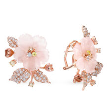 NEW Russian Earrings flower quartz Rose gold plated Sterling Silver fine jewelry