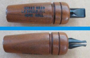 Vintage Wood Green Head Crow Call, LaSalle, ILL.