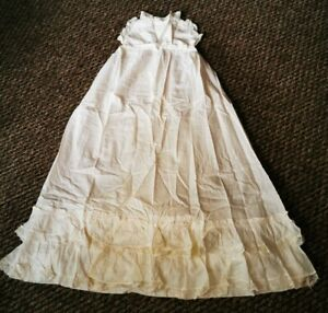 Antique White Embroidered Long Royal Victorian Baby Christening Gown Dress