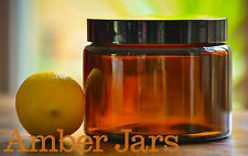 4 x 500ml Glass Amber Jars with wadded lid- Candle, Kitchen Storage FREE POST