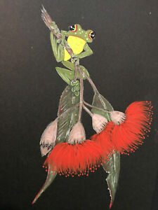 Australian Green Tree Frog on Gum Blossom by  Ronnie K Framed & Ready to Hang