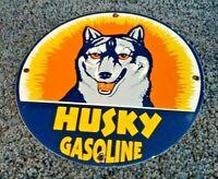 HUSKY GASOLINE PORCELAIN GAS OIL VINTAGE STYLE SERVICE STATION PUMP PLATE SIGN