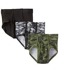 Hanes Boys Tagless Briefs 100% Cotton 6 Pr. Camo/Solid Blk/Green/Gray Sz S/P 6-8