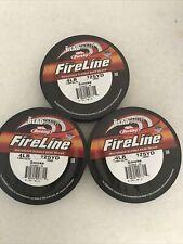 Berkley FireLine (3) Braided Microfused Bead thread 4LB 125YD Fish Line Smoke