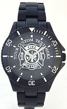 BLACK ALUMINUM FIREFIGHTER WATCH-PERSONALIZED MALTESE CROSS MEDALLION DIAL - NEW