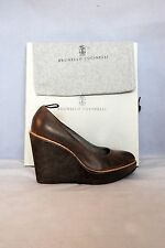 NWB! Brunello Cucinelli  Leather Brown Wedges Pumps Women Sz IT 38  US 7 $1090