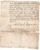 1645 manuscript document damaged but authentic original signature