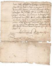 1645 manuscript document damaged but authentic original signature