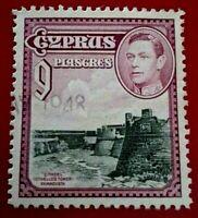 Cyprus:1938 -1951 King George VI,  9 Pia Rare & Collectible stamp.
