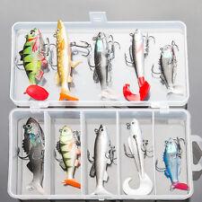 Lot 10Pcs Fishing Lures Kit Soft Bait Wobbler Artificial Lead Fish Pike Fish Jig