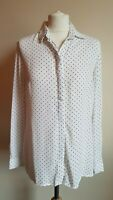 NEW LOOK Ladies Size 10 White/Black Spotted Long Sleeve Blouse/Shirt A6