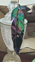 """Iradized Stained Glass  Black beauty Raven feather  9"""" Long X 2 1/4"""" wide."""