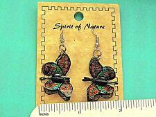 Spirit of Nature BUTTERFLY - earrings , ear rings GIFT BOXED orange turquoise