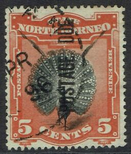 NORTH BORNEO 1895 POSTAGE DUE BIRD 5C PERF 14.5 - 15 USED