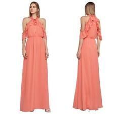 NEW BCBG MAX AZRIA SPICED CORAL Tracie RUFFLE Cold Shoulder Chiffon MAXI DRESS S